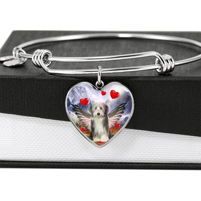 Bearded Collie Print Luxury Heart Charm Bangle -Free Shipping - Deruj.com