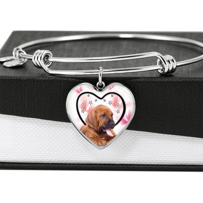 Bloodhound Dog Print Luxury Heart Charm Bangle-Free Shipping - Deruj.com