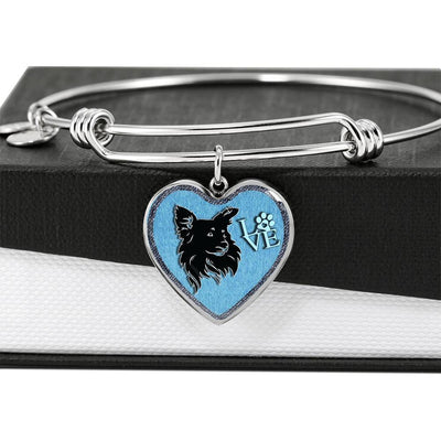 Papillon Dog On Denim Print Heart Pendant Bangle-Free Shipping