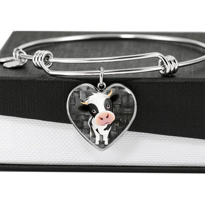 Cow Print Heart Pendant Luxury Bangle-Free Shipping - Deruj.com