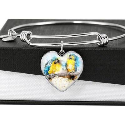 Blue And Yellow Macaw Parrot Art Print Heart Pendant Bangle-Free Shipping - Deruj.com