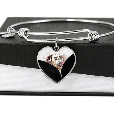 Dalmatian Dog Art Print Heart Pendant Bangle-Free Shipping - Deruj.com