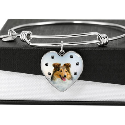 Shetland sheepdog Print Luxury Heart Charm Bangle-Free Shipping - Deruj.com