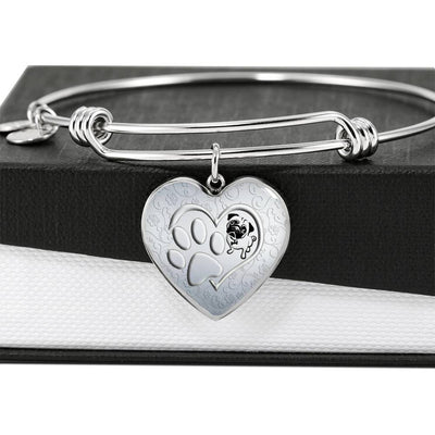 Pug Paws Print Heart Pendant Luxury Bangle-Free Shipping - Deruj.com
