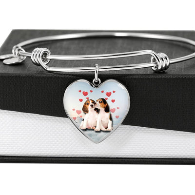 Cute Beagle Print Luxury Heart Charm Bangle -Free Shipping - Deruj.com