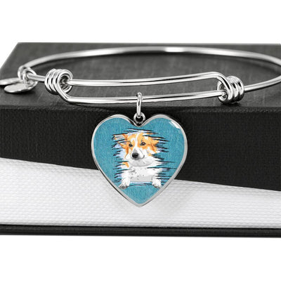Pembroke Welsh Corgi Dog Art Print Heart Pendant Bangle-Free Shipping - Deruj.com