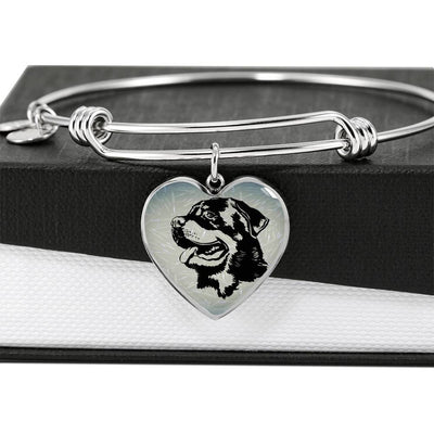 Rottweiler Dog Black&White Art Print Heart Pendant Bangle-Free Shipping - Deruj.com
