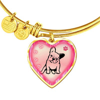 Cute French Bulldog Print Heart Pendant Bangle-Free Shipping - Deruj.com