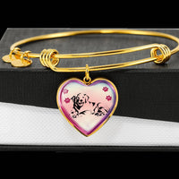 Golden Retriever Dog Print Heart Pendant Bangle-Free Shipping - Deruj.com