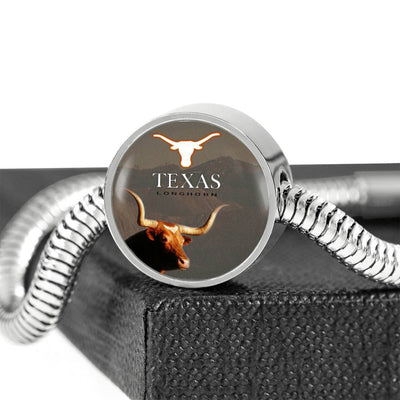 Texas Longhorn Cattle (Cow) Print Circle Steel Bracelet-Free Shipping - Deruj.com