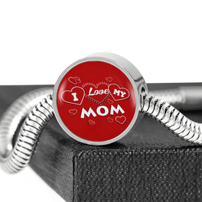 'I Love MY MOM' Red Print Circle Charm Steel Bracelet-Free Shipping - Deruj.com