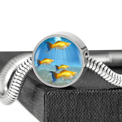 Common Molly Fish Print Circle Charm Steel Bracelet-Free Shipping - Deruj.com