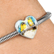 Blue And Yellow Macaw Parrot Art Print Heart Charm Steel Bracelet-Free Shipping - Deruj.com