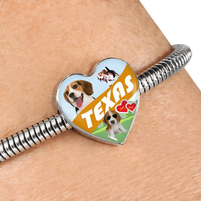 Cute Beagle Dog Print Texas Heart Charm Steel Bracelet-Free Shipping - Deruj.com