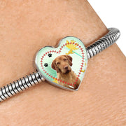Cute Wirehaired Vizsla Print Heart Charm Steel Bracelet-Free Shipping