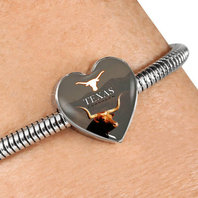 Texas Longhorn Cattle (Cow) Print Heart Steel Bracelet-Free Shipping - Deruj.com