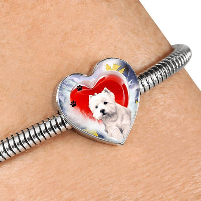 West Highland White Terrier Print Heart Charm Steel Bracelet-Free Shipping - Deruj.com
