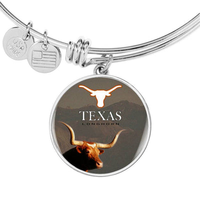 Texas Longhorn Cattle (Cow) Print Circle Pendant Luxury Bangle-Free Shipping - Deruj.com