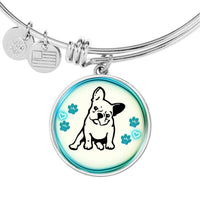 Cute French Bulldog Circle Pendent Luxury Bangle-Free Shipping - Deruj.com