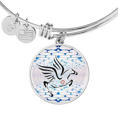 Amazing Percheron Horse Print Circle Pendant Luxury Bangle-Free Shipping - Deruj.com