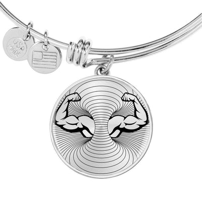 Biceps Bodybuilder Lovers Print Circle Pendant Luxury Bangle-Free Shipping - Deruj.com