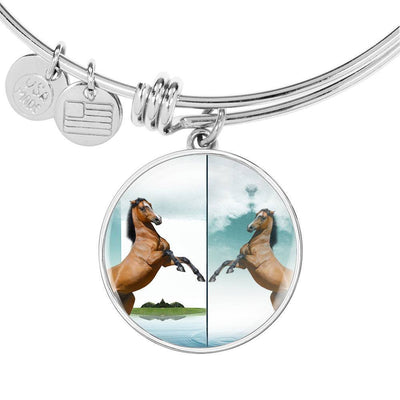 Lusitano Horse Print Circle Pendant Luxury Bangle-Free Shipping - Deruj.com