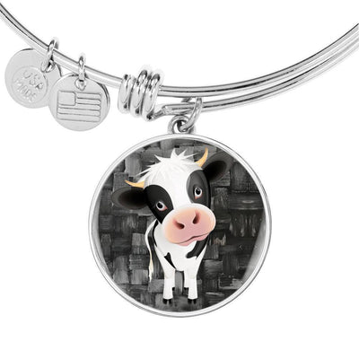 Cow Print Circle Pendant Luxury Bangle-Free Shipping - Deruj.com