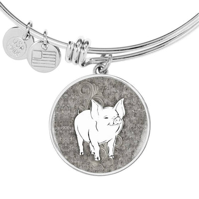 Cute Middle White Pig Print Circle Pendant Luxury Bangle-Free Shipping