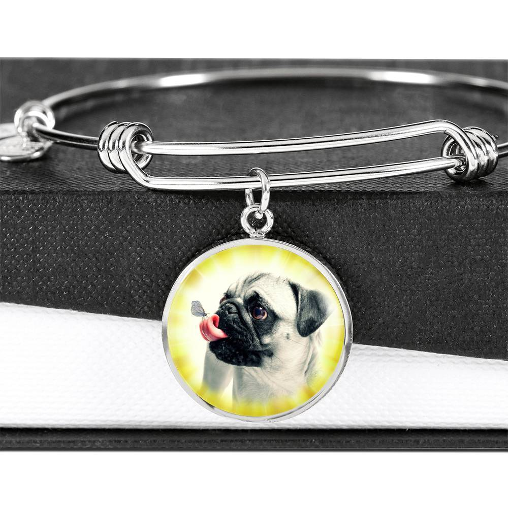 Cute Pug Dog Circle Pendent Luxury Bangle-Free Shipping - Deruj.com