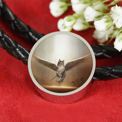 Norwegian Forest Cat Print Circle Charm Leather Bracelet-Free Shipping - Deruj.com