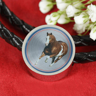 American Paint Horse Print Circle Charm Leather Bracelet-Free Shipping