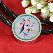 Horse Painting Print Circle Charm Leather Woven Bracelet-Free Shipping - Deruj.com