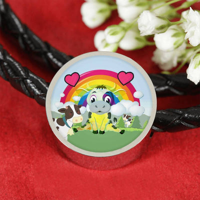 Cute Cow Print Circle Charm Leather Bracelet-Free Shipping - Deruj.com