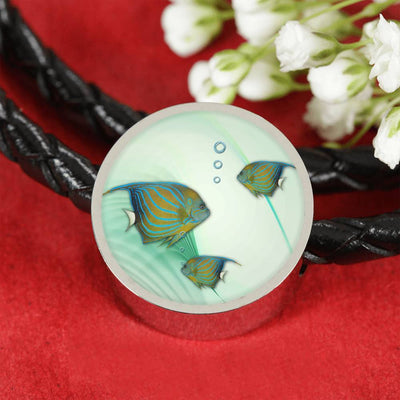 Angelfish Print Circle Charm Leather Bracelet-Free Shipping - Deruj.com