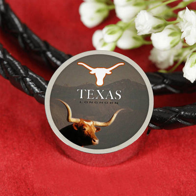 Texas Longhorn Cattle (Cow) Print Circle Leather Bracelet-Free Shipping - Deruj.com