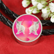 Devon Rex Cat Print Circle Charm Leather Bracelet-Free Shipping - Deruj.com