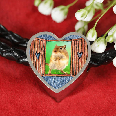 Golden Hamster Art Print Heart Charm Leather Woven Bracelet-Free Shipping