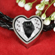 Nebelung Cat Print Heart Charm Leather Woven Bracelet-Free Shipping - Deruj.com