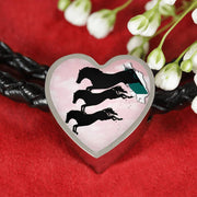 Horse Running Art Print Heart Charm Leather Woven Bracelet-Free Shipping