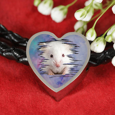 Cute White Hamster Print Heart Charm Leather Woven Bracelet-Free Shipping