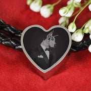 Amazing Great Dane Dog Print Heart Charm Leather Bracelet-Free Shipping - Deruj.com