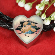 Golden Hamster Print Heart Charm Leather Woven Bracelet-Free Shipping - Deruj.com