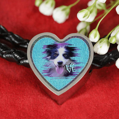 Border Collie Dog Art Print Heart Charm Leather Woven Bracelet-Free Shipping - Deruj.com