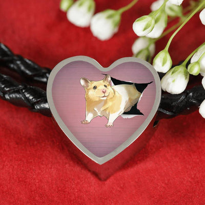 Lovely Hamster Print Heart Charm Leather Woven Bracelet-Free Shipping - Deruj.com