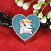 Pembroke Welsh Corgi Dog Art Print Heart Charm Leather Woven Bracelet-Free Shipping - Deruj.com