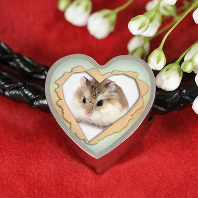 Robo Hamster Print Heart Charm Leather Woven Bracelet-Free Shipping - Deruj.com
