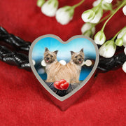 Cairn Terrier Print Heart Charm Leather Bracelet-Free Shipping - Deruj.com