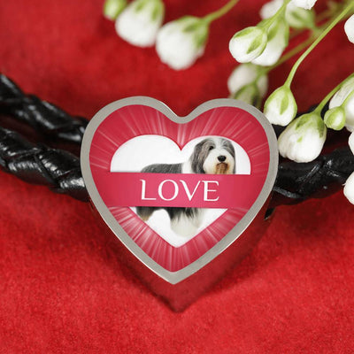 Bearded Collie Dog Print Heart Charm Leather Bracelet-Free Shipping