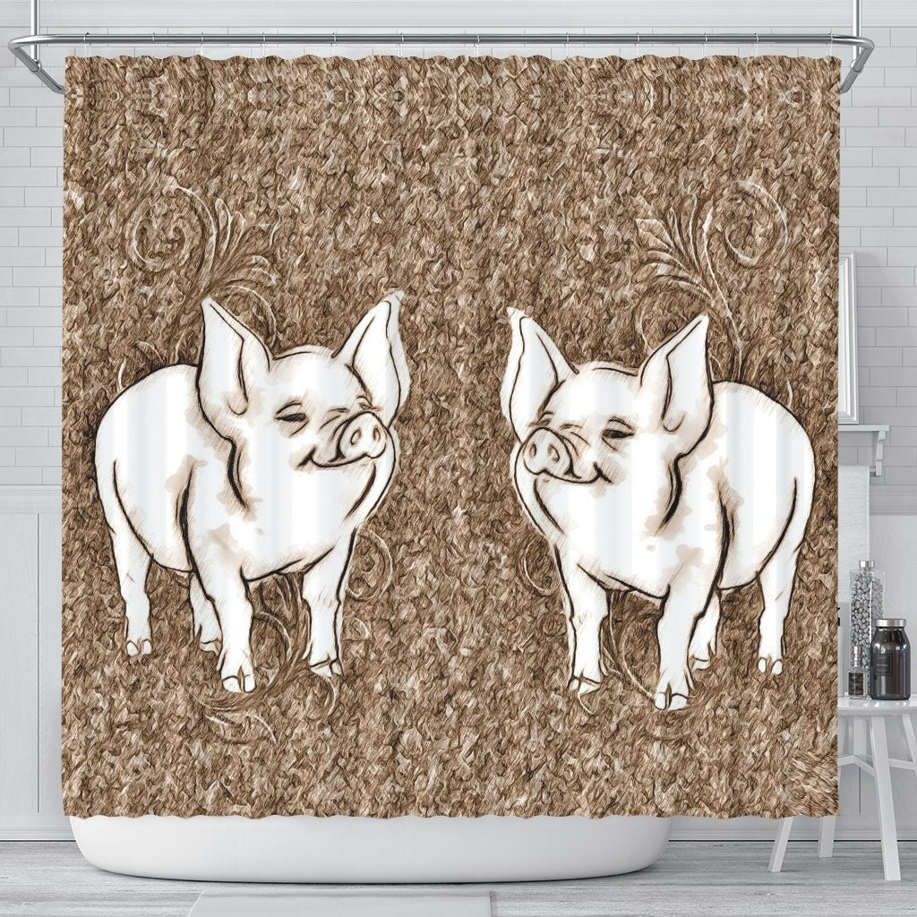 Cute Middle White Pig Print Shower Curtain-Free Shipping - Deruj.com