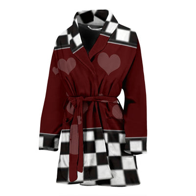 Heart Print Women's Bath Robe-Free Shipping - Deruj.com